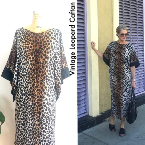 b8290d05c Vintage Leopard Print Caftan, 70s maxi dress. M_5af39bd03a112edeabae0928